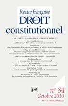 Revue française de Droit constitutionnel, N° 84, Octobre 2010 : Europe, droits fondamentaux et identité nationale